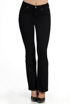 Your Body Type: Plus  The 40% stretch fabric of these bootcut jeans is great for overall body slimming.    MiracleBody by Miraclesuit, $110; MiracleBody.com