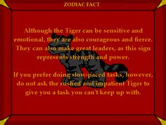 Tiger Fact #1 Chinese Astrology