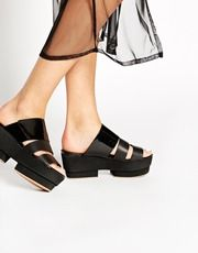 Shellys Girani Black Leather Rocker Mule Heeled Sandals