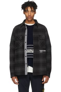 Off-White - Grey & Black Flannel Quote Shirt