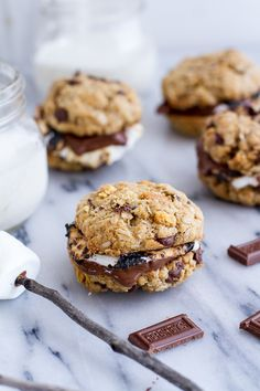Oatmeal Chocolate Chip + Graham Cracker Cookie S'mores   halfbakedharvest.com