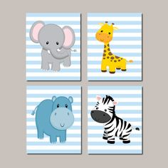 JUNGLE Nursery Wall Art Prints Or Canvas Elephant Nursery Zoo Animal Nursery Safari Animals Nursery Decor Boy Nursery Prints Set of 4