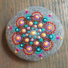 Mandala Painted Stone  Hand Painted Dot Art  Dotillism  Dot