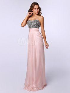 Querida rosa pescoço vestido de baile de bainha de seda elástica pérolas sem mangas - Milanoo.com