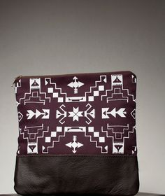 Tribal Pattern Printed  Leather Pouch Plum No. ZP-101. $52.00, via Etsy.