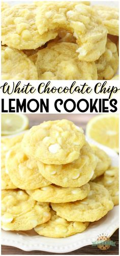 CHOCOLATE CHIP LEMON COOKIES - White Chocolate Chip Lemon Cookies are soft, chewy and perfectly sweet lemon cookies! White chocolate chips & lemon pudding mix add great flavor and texture to these delicious spring cookies. from Family Cookie Recipes Fun Baking Recipes, Easy Cookie Recipes, Lemon Recipes, Sweet Recipes, Cooking Recipes, Lemon Pudding Recipes, Lemon Dessert Recipes, Summer Recipes, Fun Desserts