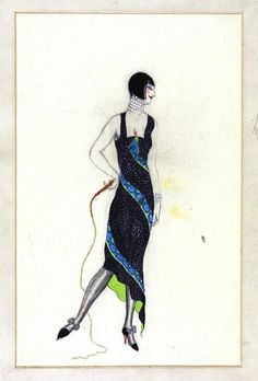 Victor Stiebel (1907-73), fashion design, England, about 1927. Evening gown in black and silver with an appliqué or embroidered snaked coiled round it from an uneven hem to bodice.The inside of the dress is lined in green - this contrasts the black exterior. The dress has a square neck line with large shoulder straps. The model is wearing a pearl chocker with matching earrings and bracelet. The short bob hair cut with a fringe was typical of this era. VAM Museum no. E.1077-1983