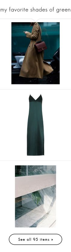 """""""my favorite shades of green"""" by yenybarriot ❤ liked on Polyvore featuring people, backgrounds, dresses, gowns, green, dark green, green dress, silk slip dress, green silk dress and slip dresses"""