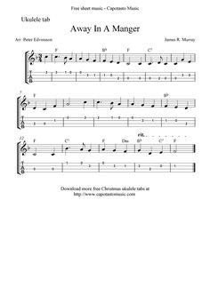 """✓""""Away In A Manger"""" Ukulele Sheet Music - Free Printable"""