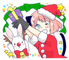 5th sticker of solalis.Rabbit stuffed is her friends. Cheerful feel! Love and positive message. Halloween, there are Christmas, also New Year greeting stickers.