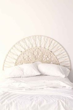Talk about headboard inspiration! Head over to our website to stock up on rope and beads for all your macramé projects! Bedroom Inspo, Bedroom Decor, 1920s Bedroom, Art Macramé, White Headboard, White Bedroom, Bohemian Headboard, Headboard Decal, White Bedding