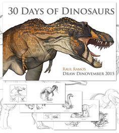 Hello everyone! For the past few weeks I've been hard at work laying out my new sketchbook. I've titled the book 30 Days of Dinosaurs. 30 Days of Dinosaurs
