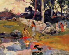 by Paul Gauguin in oil on canvas, done in . Now in a private collection. Find a fine art print of this Paul Gauguin painting. Paul Gauguin, River Painting, Painting & Drawing, Pablo Picasso, Gauguin Tahiti, Kunst Online, Impressionist Artists, Expositions, Art Moderne