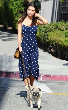 Emily Ratajkowski from The Big Picture: Today's Hot Pics  Pup and polka dots! The model takes a stroll through Los Angeles with her adorable dog.