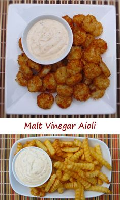 This malt vinegar aioli is absolutely yummy. I made a batch and served it as a dipping sauce for tater tots and fries. What a great change from ketchup! That wonderful malt vinegar flavor, tamed just enough by the tarragon and garlic. All in a great creamy sauce.