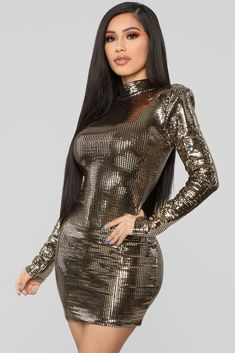 The Glow Up Metallic Dress - Gold – Fashion Nova Metallic Gold Dress, Metallic Mini Dresses, Tight Dresses, Sexy Dresses, Beautiful Dresses, Evening Dresses, Sexy Outfits, Fashion Outfits, Womens Fashion