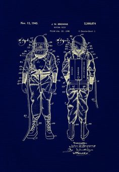 Retro Deep Sea Diver Suit Blueprint 8x10 Digital by TheArtofByrd, $10.00