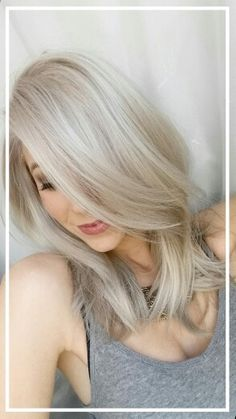 15 Long Blonde Hair Color Ideas for Stylish Ladies: Grey-Blonde Hair Color Cool Blonde Hair Colour, Icy Blonde, Hair Color And Cut, Platinum Blonde Hair, Cool Toned Blonde Hair, Toning Blonde Hair, Grey Blonde Hair, Blonde Shades, Blonde Bangs