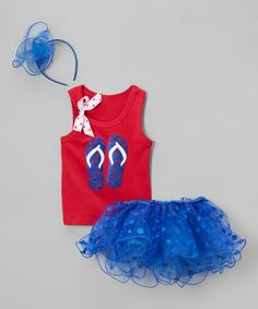 Look at this #zulilyfind! Beary Basics Red & Blue Flip-Flops Tutu Set - Infant, Toddler & Girls by Beary Basics #zulilyfinds