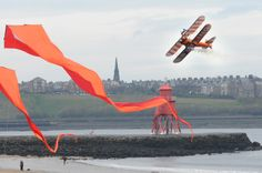 Breitling wing walkers display over Littlehaven Beach, South Shields.