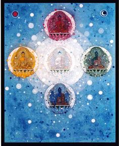 Mandala of the five buddhas showing at the bottom, Aksobhya who is the blue buddha of the East. He has Mirror-like Wisdom, but also tends to be seen as the is embodiment of wisdom in general. Painted by Aloka.