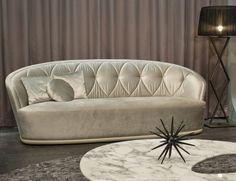 Streamlined Allen Italian Designer Upholstered Fabric Sofa