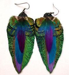 Peacock Jewel Feather Earrings by wildspirits on Etsy, $36.00