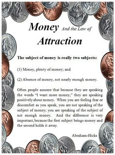 *$$$ Money and the Law of Attraction $$$...