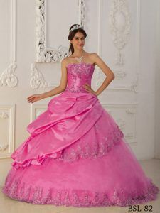 Romantic Hot Pink Princess Sweetheart Quinceanera Dresses in Taffeta and Tulle