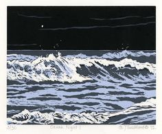 Ocean Night 1 - woodcut 2012 - Emily Trueblood (born U. No Wave, Tattoo Coloring Book, Ocean At Night, Wave Illustration, Landscape Tattoo, Landscape Prints, Safari, Linoprint, Wood Engraving
