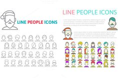 Line People Icons by Sabelskaya on @creativemarket