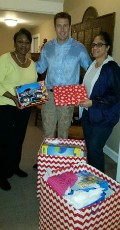 The Gamma Xi Omega Chapter of Alpha Kappa Alpha Sorority donated toys for our kids on Dec. 22, in what has been an unbelievable outpouring of support from thoughtful groups and individuals in the community this Christmas. It was cold, wet and dreary on Monday, but people like these kind folks from Alpha Kappa Alpha still came in droves.   Pictured is Vickie Stuckey (far left) and Sonya Jones (far right) standing with CYDC Community Outreach Coordinator Louis Kines.