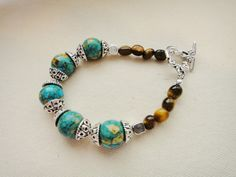 Mosaic Turquoise, Southwestern, Country Western, Turquoise and Tiger Eye, Cowgirl Bracelet, Tiger Eye, Gemstone Jewelry