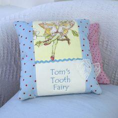 Flower Fairy© Tooth Fairy Cushion Blue Pillow Embroidery, Tooth Fairy Pillow, Little Boys, Teeth, Crafting, Cushions, Bear, Throw Pillows, Patterns