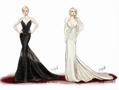 Dibujando señoritas de piernas largas: Oscar 2014 ilustrado a las mejor vestidas por Mercedes Galán Charlize Theron y Kate Hudson