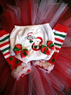 Santa Personalized Christmas Bloomer/diaper by Fancydancyboutique, $18.00