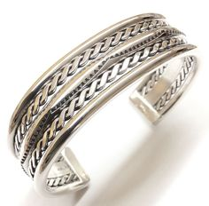 Native American Indian Sterling Silver Navajo With Double Twist Cuff Bracelet