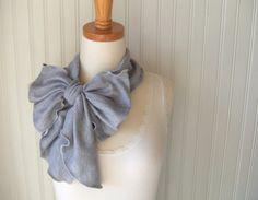 Heather Grey Jersey Ruffled Bow Scarf  Ultra Soft by JannysGirl, $14.50