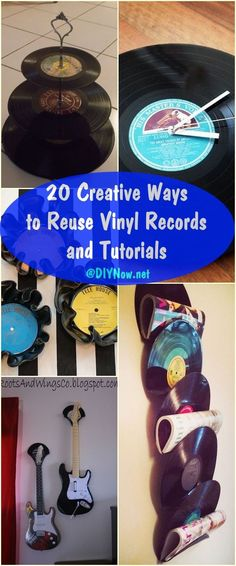 20 Creative Ways to Reuse Vinyl Records! Vinyl Record off Saturday, June Vinyl Record Projects, Vinyl Record Art, Vinyl Art, Cd Crafts, Vinyl Crafts, Diy And Crafts, Records Diy, Old Records, Diy Upcycling