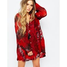 Jen's Pirate Booty Hera Swing Dress with Blouson Sleeves ($230) ❤ liked on Polyvore featuring dresses, redstormstd, red stretch dress, cotton dress, cotton swing dress, red sleeve dress and red loose dress
