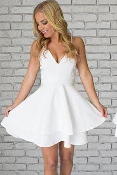 White Satin Spaghetti Straps Short Mini White V neck Homecoming Dresses KB2018103