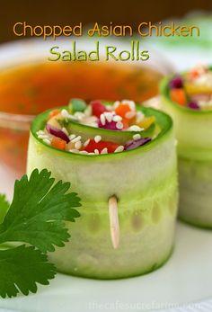 Chopped Asian Chicken Salad Rolls - thecafesucrefarine.com pintwist on rolls
