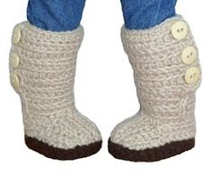Mini Sweater Boots - PDF Crochet Pattern to fit American Girl Dolls | YouCanMakeThis.com