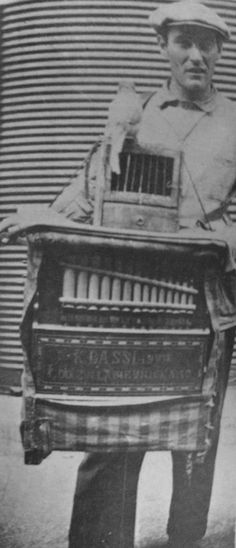 Organ grinder. For a small donation the parrot would extract a piece of paper that predicted one's fortune.