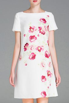 simple white dress with pink florals