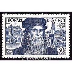 On 11 May 1952 France issued a stamp celebrating the anniversary of the birth of Leonardo da Vinci. Leonardo was born 15 April 1452 i. Commemorative Stamps, Postage Stamp Art, Decoupage Vintage, Ghibli, Stamp Collecting, Famous Artists, Vintage Images, Timbre France, Amboise