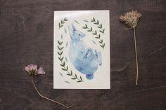 Blue Rabbit Postcard - High Quality Print - Watercolor Illustration - Botanical - Animals