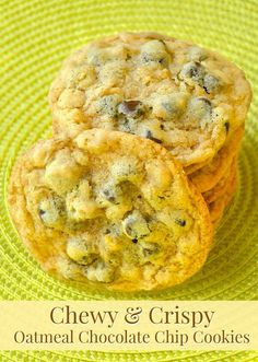 Oatmeal Chocolate Chip Cookies  - These cookies are the perfect combination of chewy and crispy with the added wholesome deliciousness of oatmeal and of course a little chocolate indulgence too.