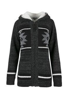 Ladies' Nordic Zip Cardigan, CHARCOAL