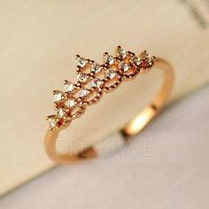 Beautiful Crown Diamond Golden Ring